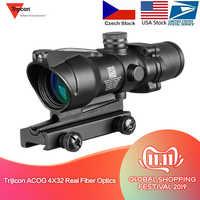 Caza Riflescope ACOG 4X32 fibra óptica Real punto rojo iluminado Chevron vidrio grabado retícula vista óptica táctica