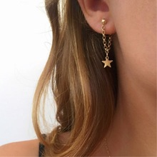 European and American popular jewelry fashion simple Star Earrings with long chain Star Earrings