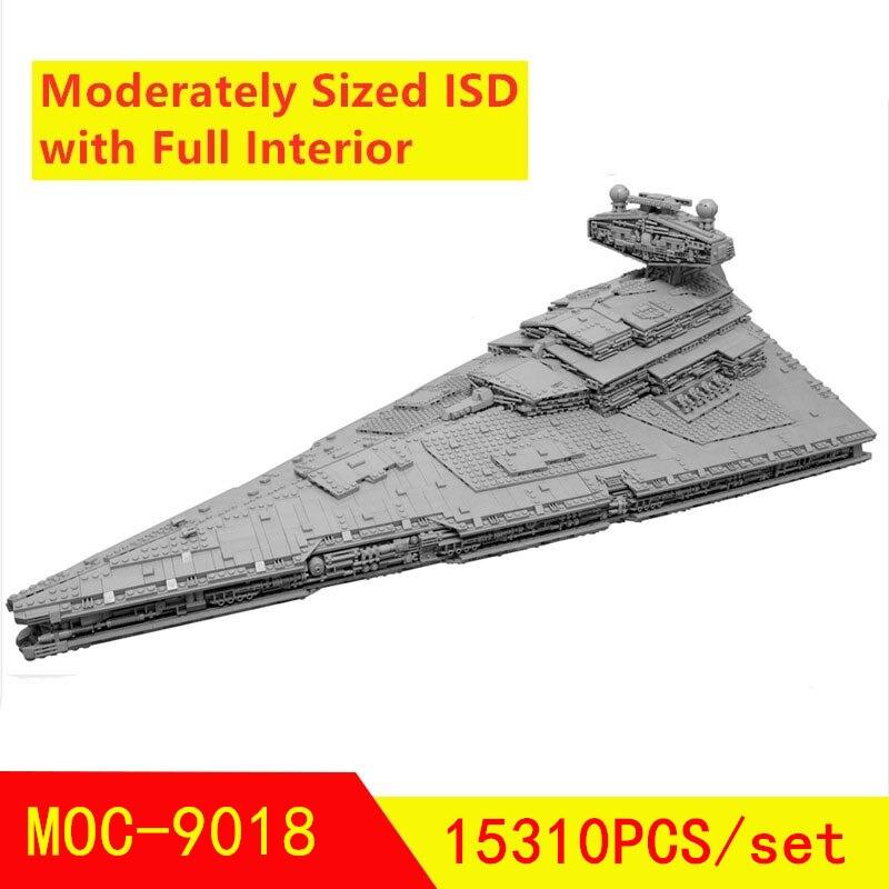 Новый MOC-9018 имперский Звездный Разрушитель среднего размера ISD с полным интерьером 15310 шт Звездные войны модель строительные блоки игрушки