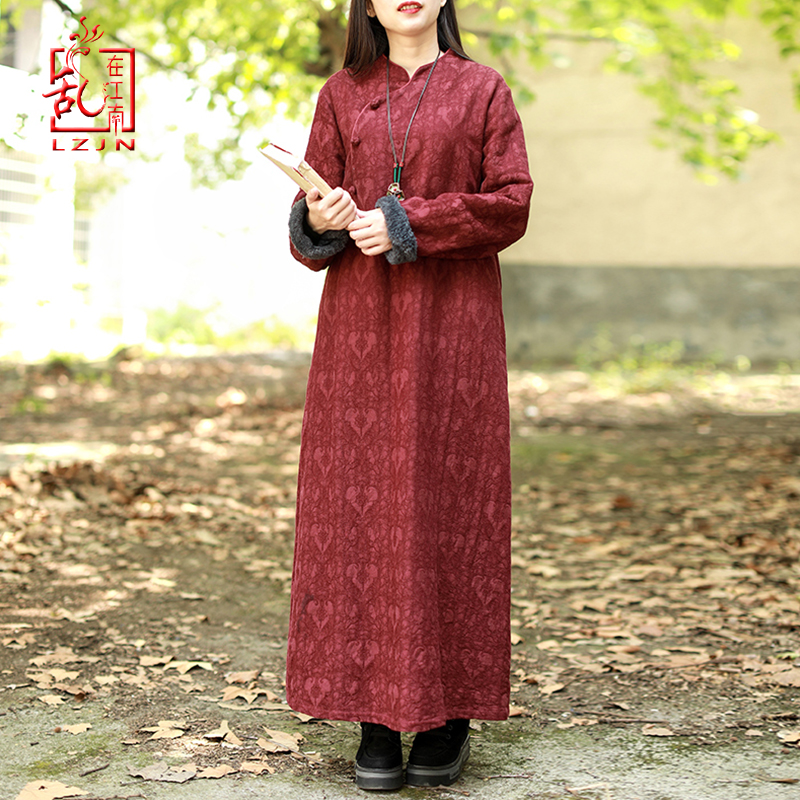 LZJN Chinese Dress Women 2019 Autumn Winter Long Sleeve  Cheongsam Qipao Jacquard Fleece Lined Warm Thick Dress Robe Vestidos