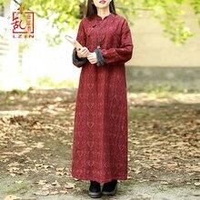 LZJN 中国ドレス女性秋冬長袖チャイナ袍ジャカードフリース裏地暖かい厚手ドレスローブ Vestidos