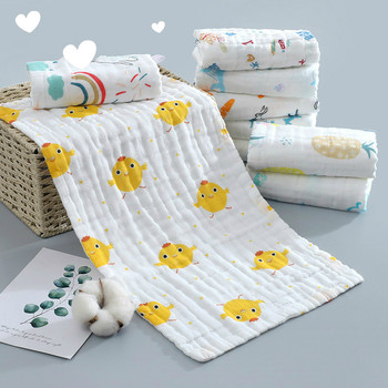 25*50cm Baby Six-layer Pure Cotton Printed Long Square Towel Combed Cotton Long Gauze Towel Newborn Feeding Towel Baby Washing T 120 150cm infant six layer pure cotton printed generous bath towel cotton high density large gauze towel newborn feeding towel