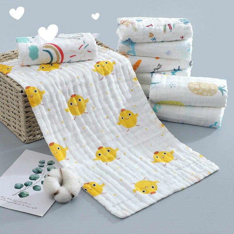 25X50CM Baby Six-layer Pure Cotton Printed Long Square Towel Pure Cotton High Density Long Gauze Towel Newborn Feeding Towel Bab