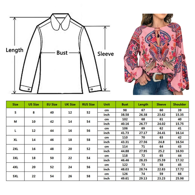 2019 Casual Vintage Shirt Blouse Women Floral Printed Lantern Sleeve Plus Size Women Tops And Blouse V Neck Blusas Mujer De Moda 6