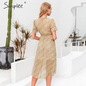Image 4 - Simplee 플로랄 프린트 여성 드레스 짧은 소매 단추 높은 허리 여름 드레스 숙녀 v 목 boho 비치웨어 bodycon 드레스 2020