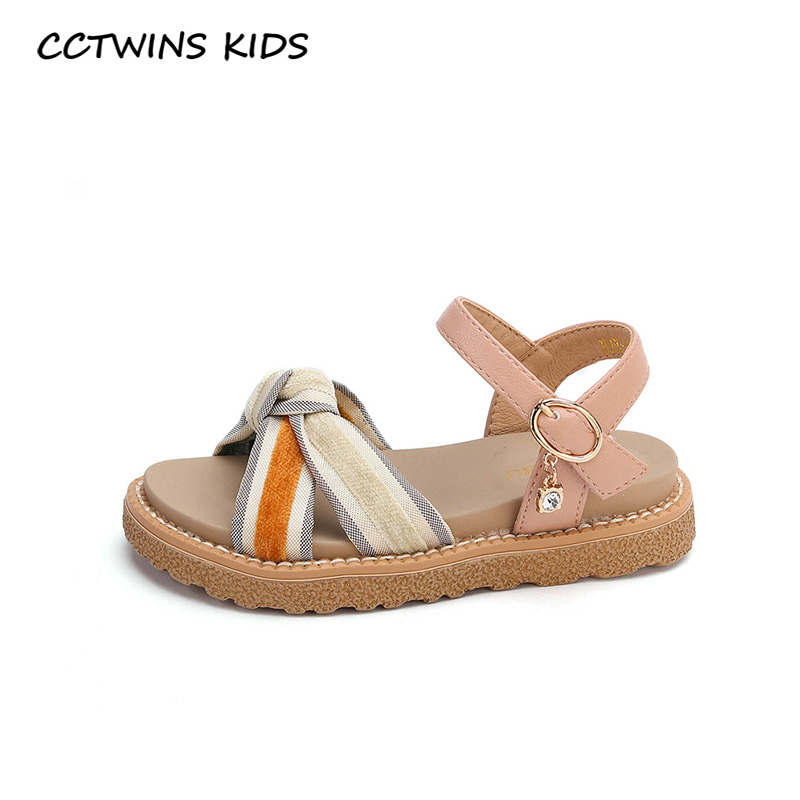 CCTWINS Kids Shoes 2020 Summer Girls Pu Leather Flat Children Fashion Beach Sandals Baby Brand Rhinestone Shoes Toddlers PS900