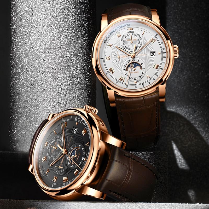 LOBINNI Luxe Merk Automatische Mechanische Horloges Man Lederen 50m Waterdicht Heren Skeleton Horloge Rose Gold Sapphire Montre Homme - 6
