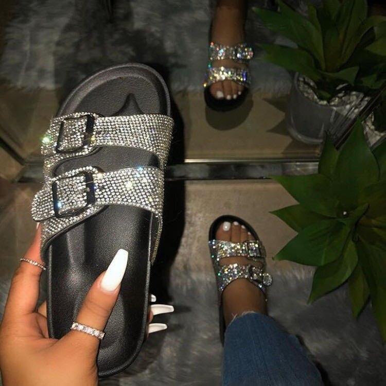 2020 Amazon Европейская и американская взрывчатая женская обувь летние сандалии тапочки европейские и американские хрустальные туфли женская обувь