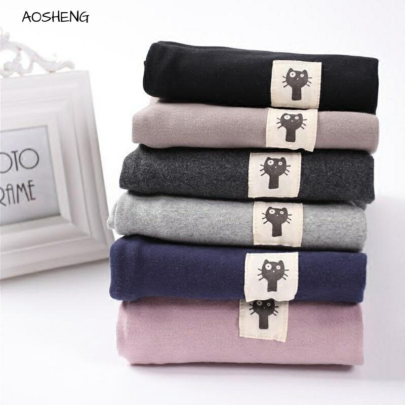 AOSHENG Women Cotton Legging Cat Legging Spring Kitten Patchwork High Waist Thick Large Size Solid Legging Calzas Mujer Leggins