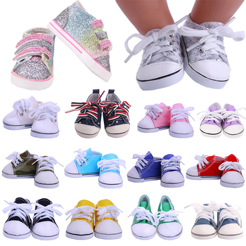 7 cm Canvas Doll Shoes For 43 cm Born Baby