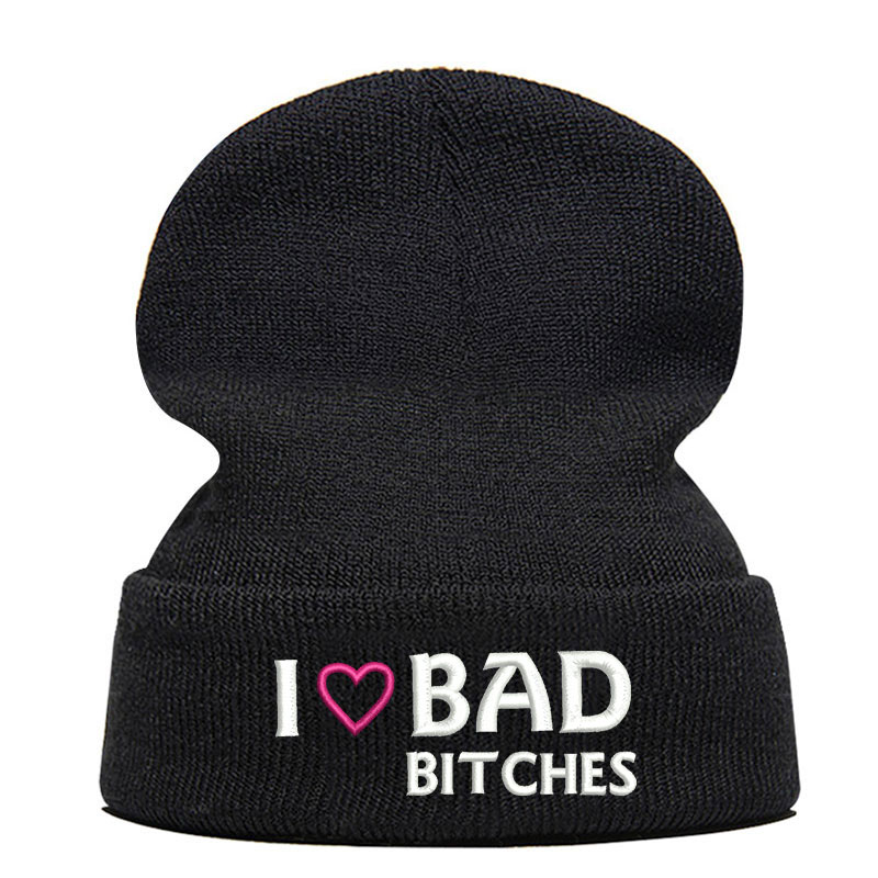 Beanie Hat Skullie Cap Slouchy Winter Embroidery Cool Punk Men Women Teen Street Dance Funny Personalized I Love Bad Bitches