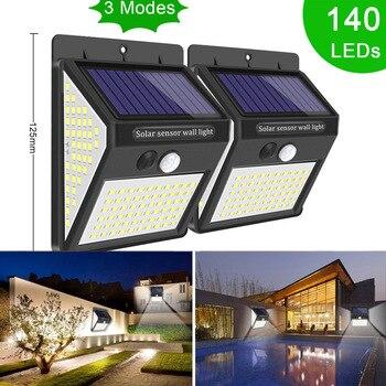 New 140 LED Street Lights Solar Power Security Lamp Outdoor Waterproof LED Solar Motion Sensor Light for Garden Wall Decoration