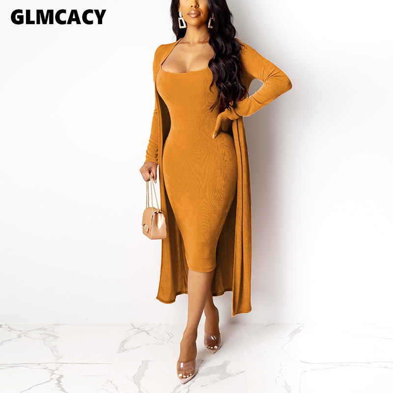 Women 2 Pieces Autumn Winter Velvet Outfits Long Sleeve Cardigans And Bodycon Dress Sets Classy Church Party Clothing