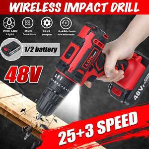 48V 25+3 Torque Cordless Impact Drill Electric Screwdriver Mini Wireless Power Driver With 2Pcs Rechargeable Li-Ion Battery
