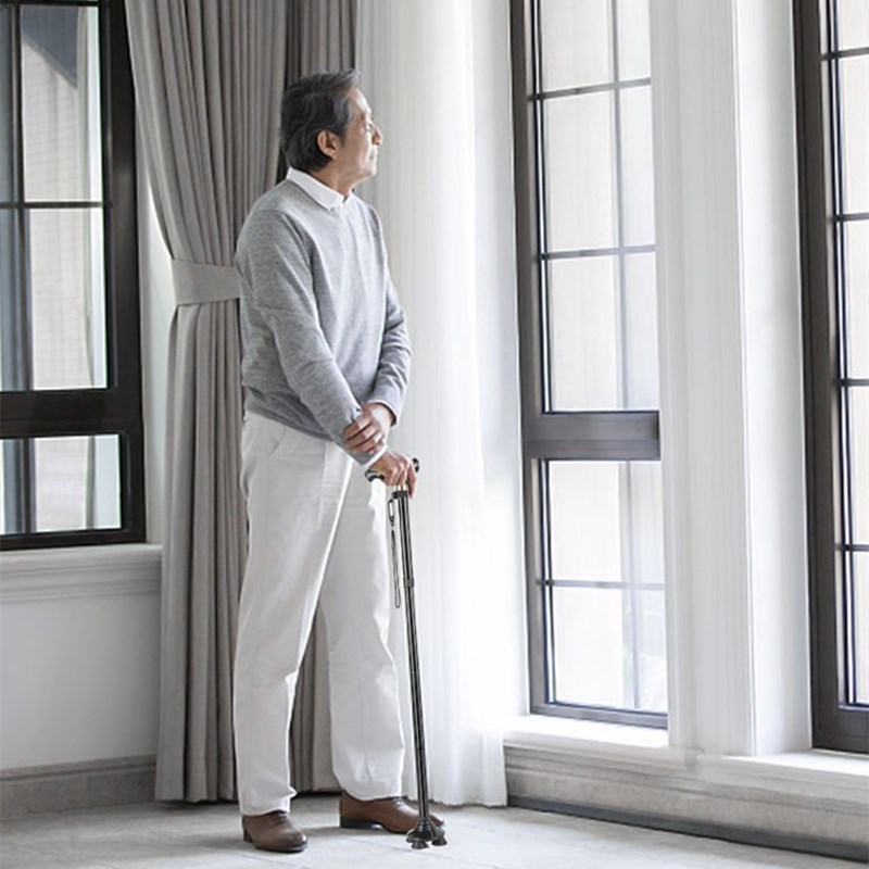 Multi-Function Walking Stick The Elderly Folding Cane With LED Lights Large Base Crutches Non-Slip And Stable