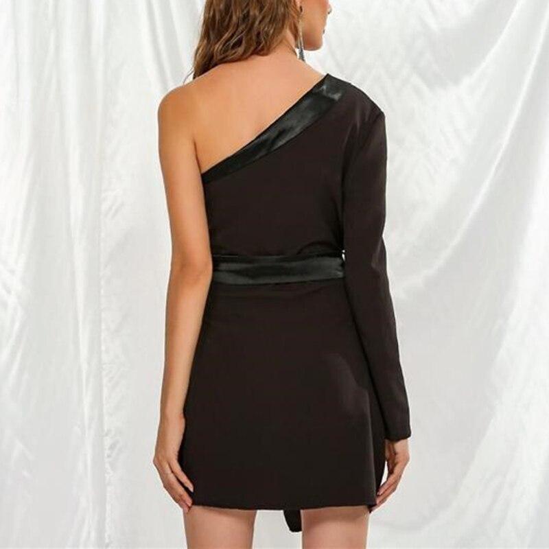 CHICEVER Patchwork Hit Color Women's Dress Asymmetrical Collar One Shoulder Long Sleeve Tunic High Waist Female Dresses 2020 New 4