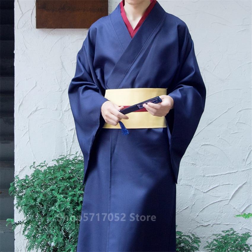Details about  /Samurai Men Kimono Luxury Retro Dress Yukata Navy Belt Traditional Japan Clothes