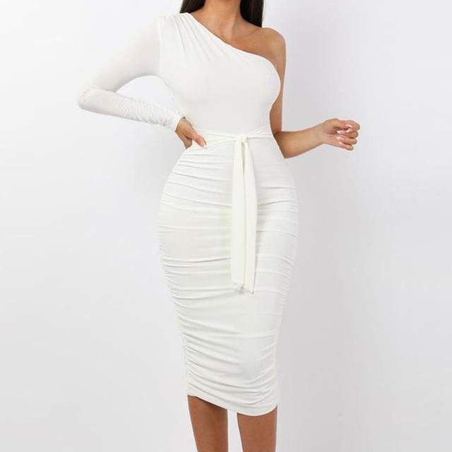 Women Elegant Fashion Sexy White Cocktail Party Slim Fit Dresses One Shoulder Belted Ruched Design Bodycon Midi Dress 2