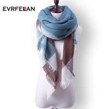 Модный зимний шарф для женщин, теплый брендовый шарф, роскошный клетчатый кашемировый шарф, Женские Треугольные бандажные шарфы