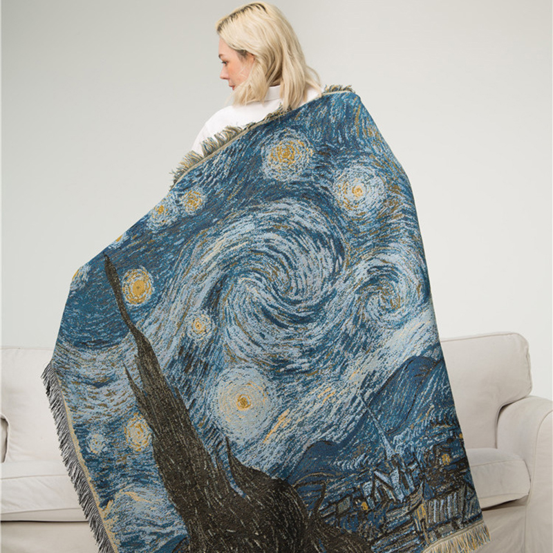 Simanfei Knitted Shawl Blanket Van Gogh Star Night Leisure Sofa Cotton Blanket Artist Home Decoration Soft Breathable Blankets in Blankets from Home Garden