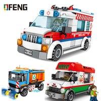 City compatible Ambulance Bricks Pizza car Sanitation Vehicle Truck assembled Building Blocks kits kids toy Children gift