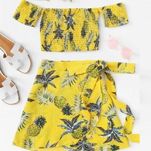Two Pieces Set Women's Fashion Slash Neck Ruched Floral Pineapple Print Crop Top & Mini Skirt Summer Fashion Women's Sets 2 PCS pineapple print crop halter top