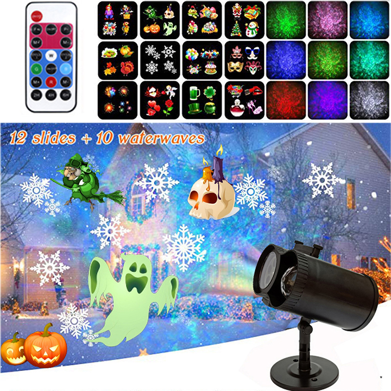 Christmas Decoration Projector Lights With Moving 12 Slides Waterproof Outdoor Garden Landscape Light For Party Holiday Lighting