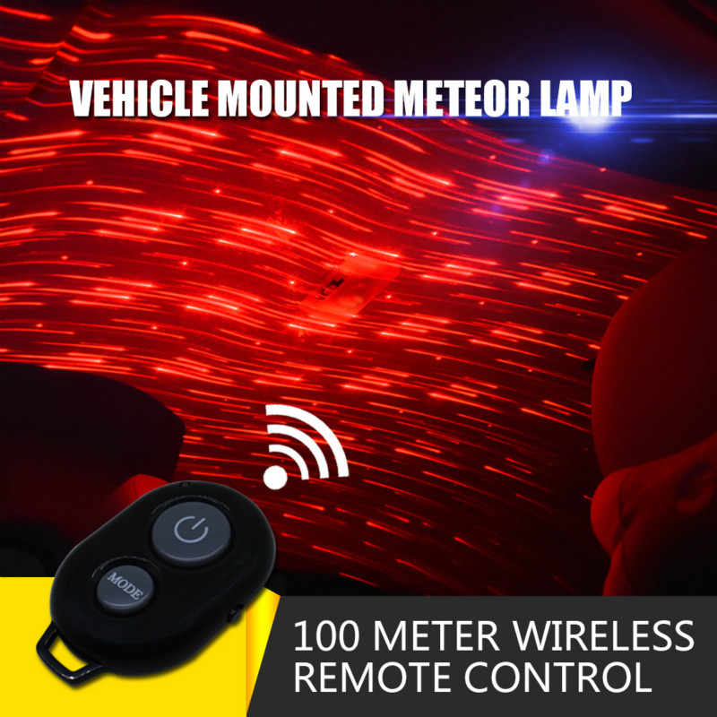 CARCTR USB Car Lights Car Decorative Lamp DJ RGB Music Sound Light LED Starry Sky Meteor Star Christmas Interior Ambient Light