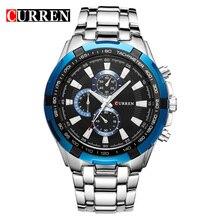 Curren pełne stalowe zegarki kwarcowe męskie biznesowe zegarki kwarcowe Casual Dropship niebieski wojskowy sport Relogio Masculino zegar męski