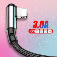 Cable USB de carga rápida de 90 grados para iPhone, 12, 11 Pro, Max, XS, XR, X, 8, 7, 6, 6S, 5S, nailon en forma de L