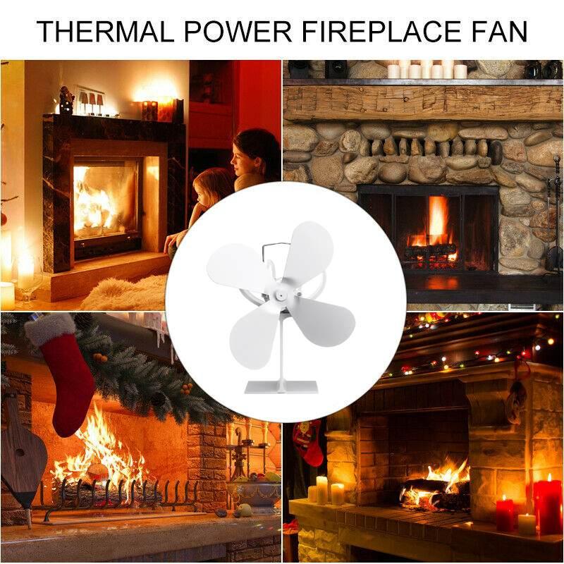 Hot WHITE Fireplace 4 Blades Heat Powered Stove Fan Log Wood Burner Eco Friendly Quiet Fan Home Efficient Heat Distribution
