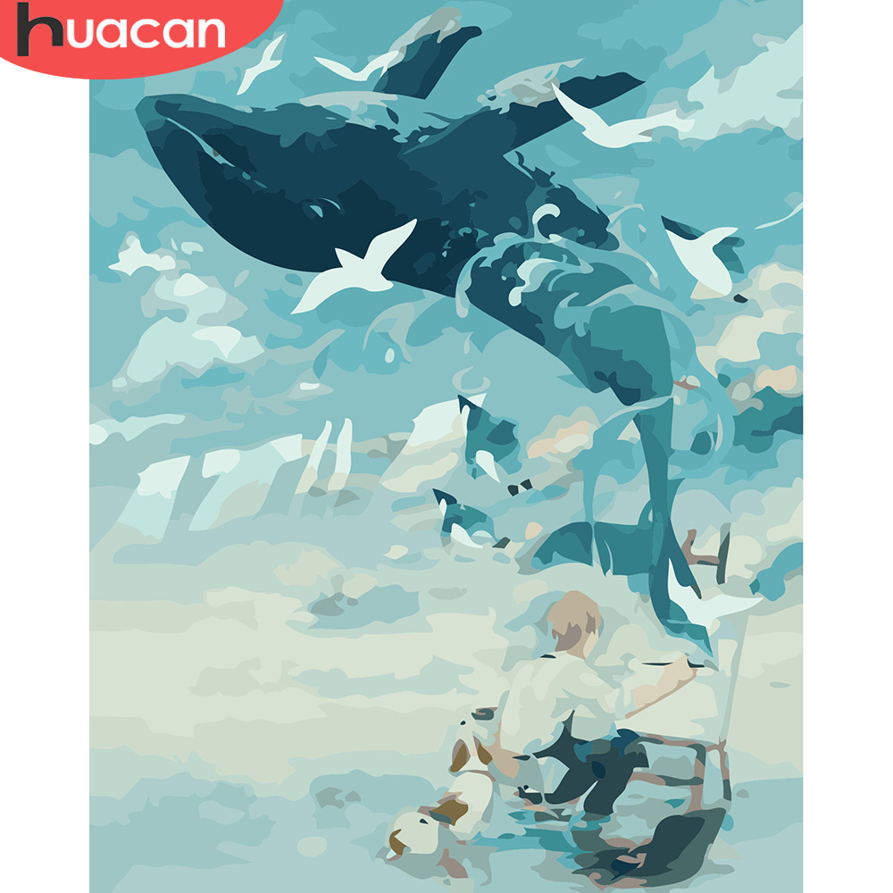 HUACAN Oil Painting By Numbers Whale Animals Kits Pictures Drawing Canvas HandPainted DIY Home Decoration Gift