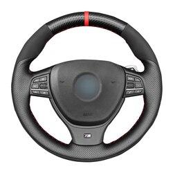 -Negro de punto de cuero genuino protector para volante de coche para BMW M F10 F11 (turismo) F07 F12 F13 F06 F01 F02 M5 F10