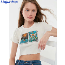 Linjiashop Tarot Card Short Sleeve Cropped Lettuce Hem Sexy Summer T-shirt for Girls O-Neck Graphic