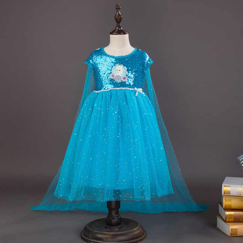 3-10 Yrs New Summer Girls Dress Elsa Anna Children Baby Kids Cosplay Dress Costume Princess Perform Clothes Fairy Style