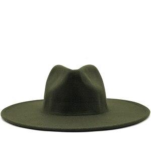 Simple 9.5CM Wide Brim Big white Fedoras British Style winter wool solid Classic fedoras cap men women panama jazz hat
