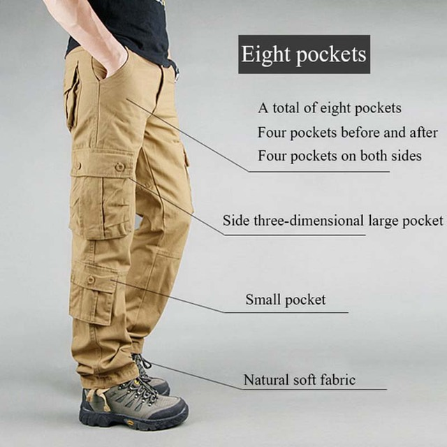 FALIZA Men's Cargo Pants Multi Pockets Military Style Tactical Pants Cotton Men's Outwear Straight Casual Trousers for Men CK102 4