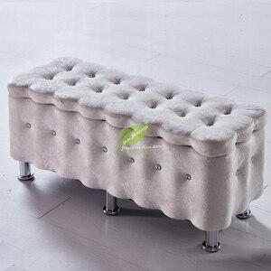 Moderno taburete en T de madera maciza para almacenar zapatos rectangulares, taburete para sofá, Banco de tela, esponja de alta resistencia para decoración del hogar, Moderno