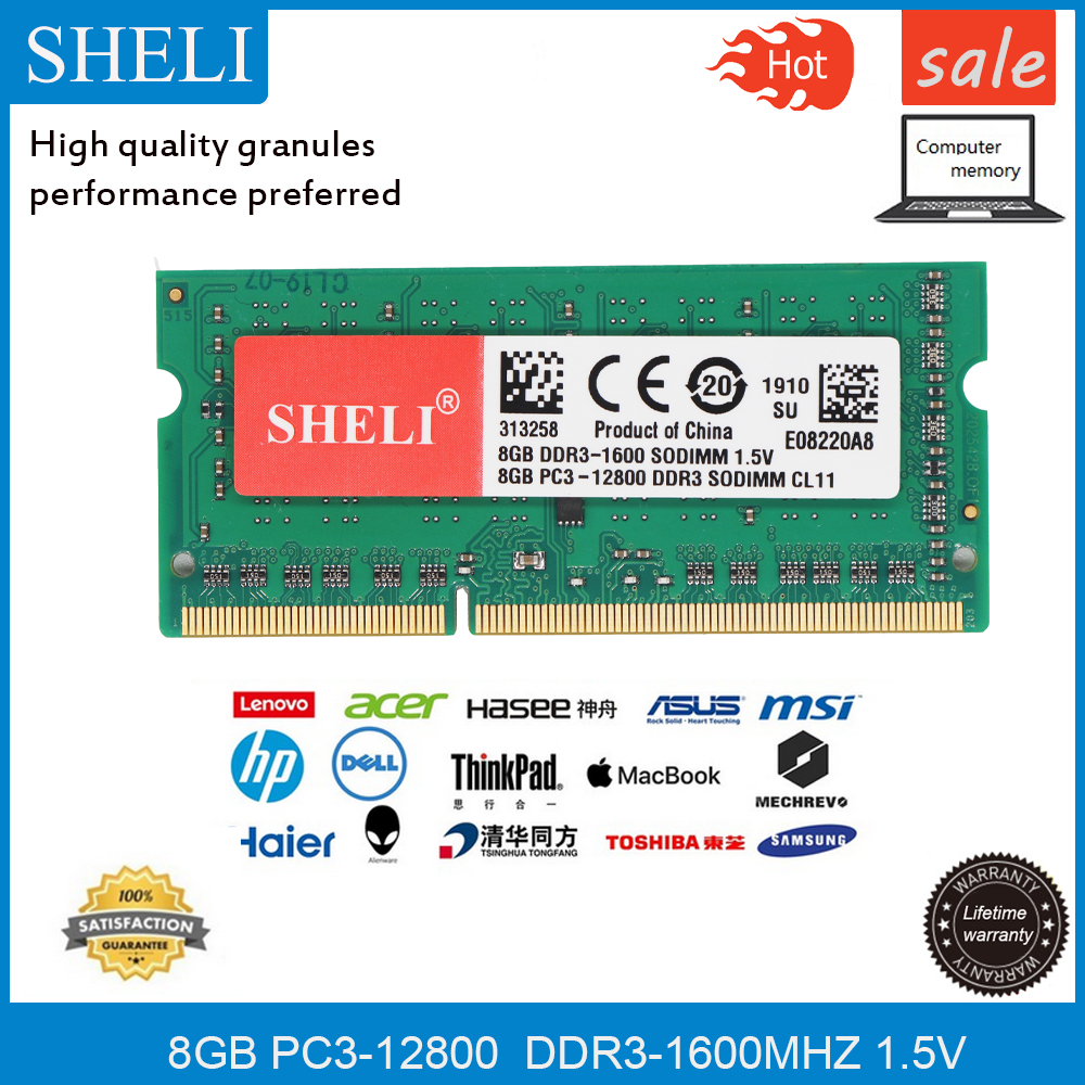 SHELI 8GB 1RX8 PC3-12800 <font><b>DDR3</b></font> 1600Mhz 204-pin 1,5 v <font><b>SODIMM</b></font> Laptop Speicher <font><b>RAM</b></font> image
