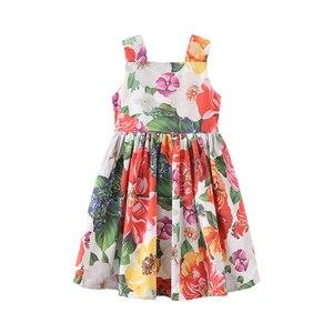 Летние платья для девочек; Одежда из хлопка для маленьких девочек; Детская одежда принцессы; Платья без рукавов с цветочным принтом; Костюм; ...