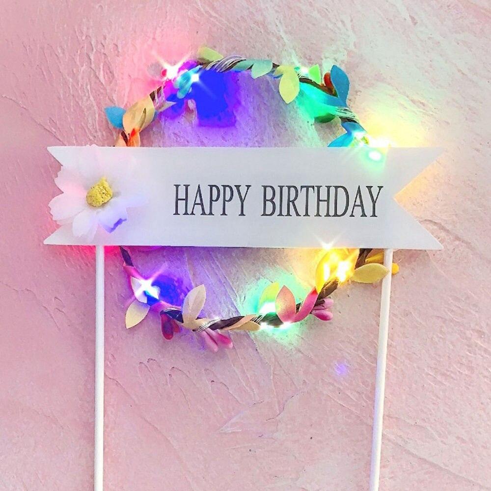 1 шт. цветочный венок торт Топпер светодиодный светящийся День рождения украшение душевой кабины для малышей DIY выпечки Торт Топ флаги вставки поставки - Цвет: Colorful