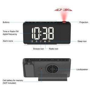 Image 4 - LED 시간 프로젝션 디지털 알람 시계 FM 라디오 스누즈 기능 테이블 시계 시간 메모리와 조절 조명 책상 시계