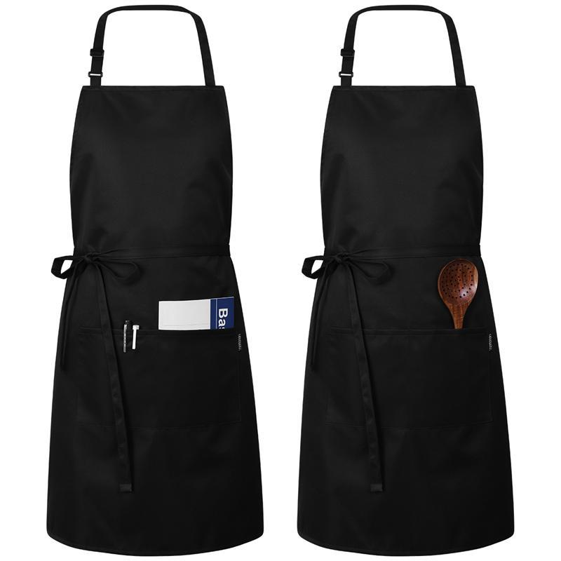 2pcs Adjustable Kitchen Apron Waterproof Oil-Proof Cooking Professional Chef for Women Men (Black/white)