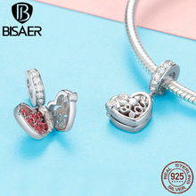 BISAER 925 Sterling Silver Red CZ Heart-shape Love Box Pendant Charm for Women 925 Original Charms Bracelet Necklace GXC1069 bisaer authentic 925 sterling silver gold color mosaic red cz heart pendant necklace for women valentine s gifts jewelry gan014