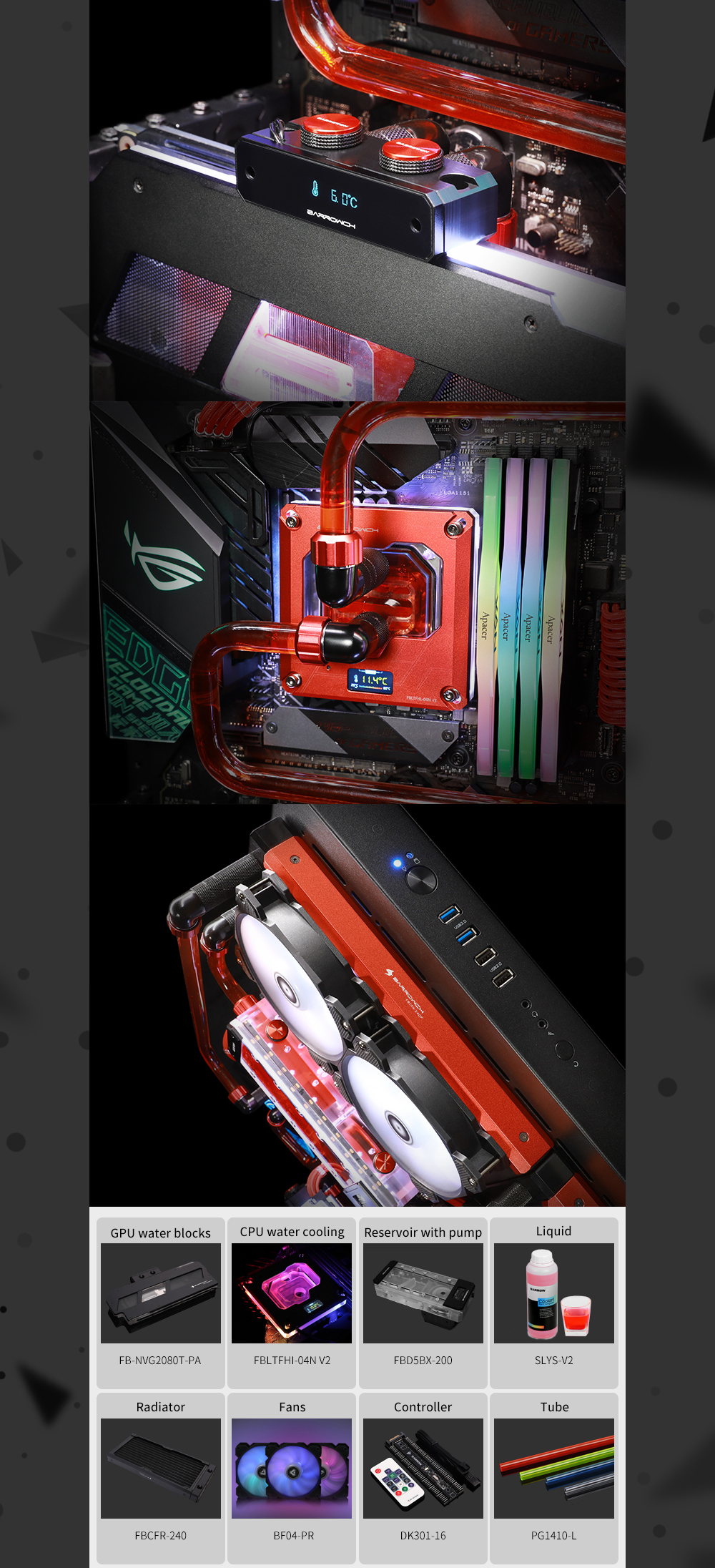Barrow Water Cooling Kit for TT P5 Case, For Computer CPU/GPU Liquid Cooling, Cooler For PC, TTP5-HS