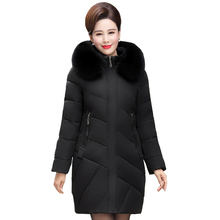 Real Fox Fur Collar Winter Women Jacket Middle Aged Mother Mid-Long Loose Female Down Jacket Plus Size Hooded Warm Ladies Parkas цены онлайн