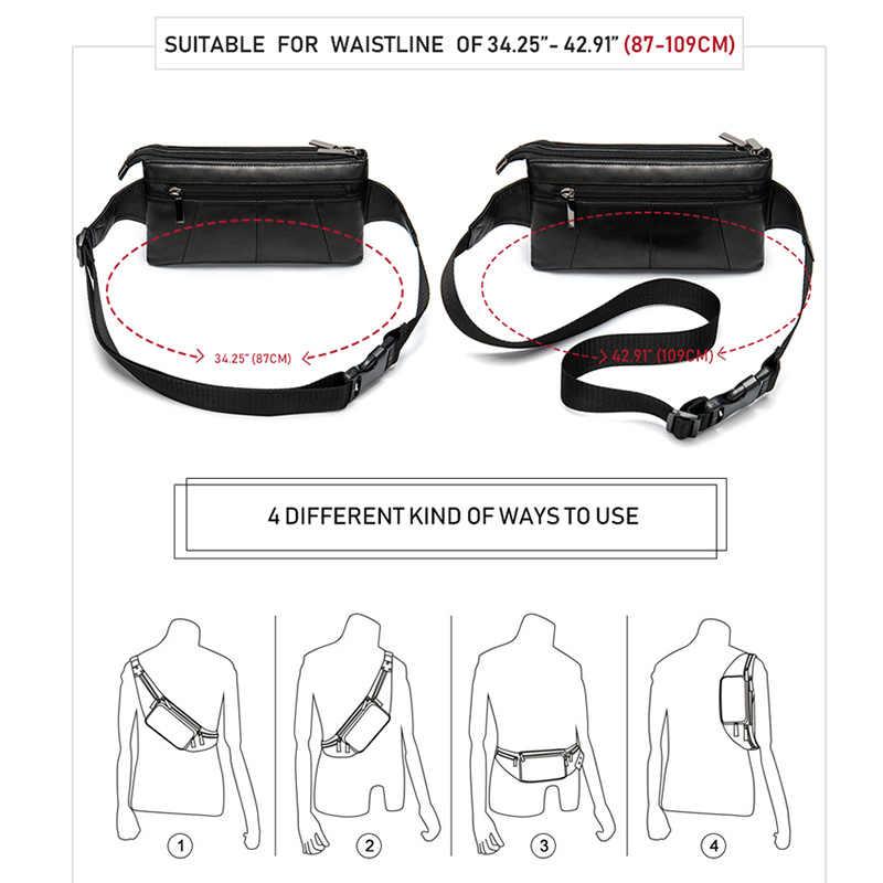 MVA 羊革ウエストパックファニーパックベルトバッグ電話ポーチバッグ旅行ウエストパックの男性のウエストバッグレザーポーチ