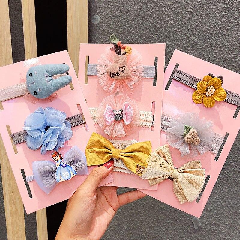 3PCS/Set New Little Girls Cute Flower Bow Elastic Headband Children Sweet Hairband Turban Bandanas Kids Fashion Hair Accessories