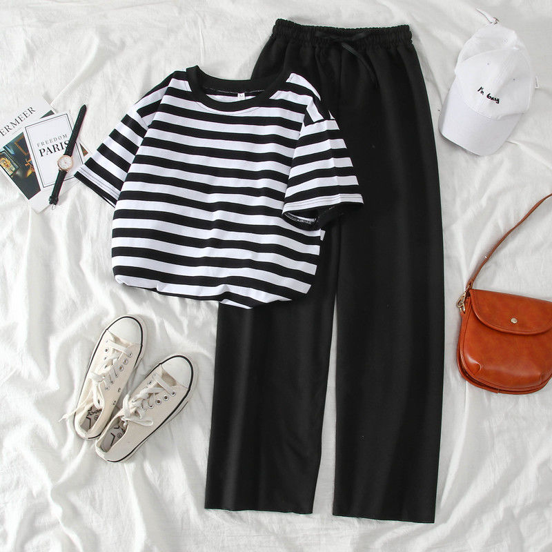 Women 2020 Spring Summer Fashion Suit Female Casual Simple Striped T-Shirt +Wide Leg Pants Sports Tracksuit Two-piece Sets L198