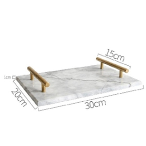 Image 2 - Nordic Style Gold Plated Handle Ceramic Marble Tray Storage Tray Storage Board Cake Dessert Plate Sushi Plate Jewelry Display Tr